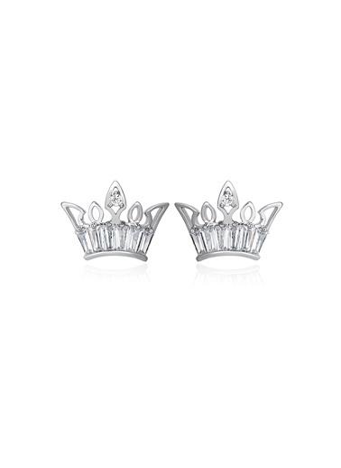 Tophills Diamond Co. 1,20 Ct Pırlanta Efekt Altın Crown Trapes Küpe Renkli